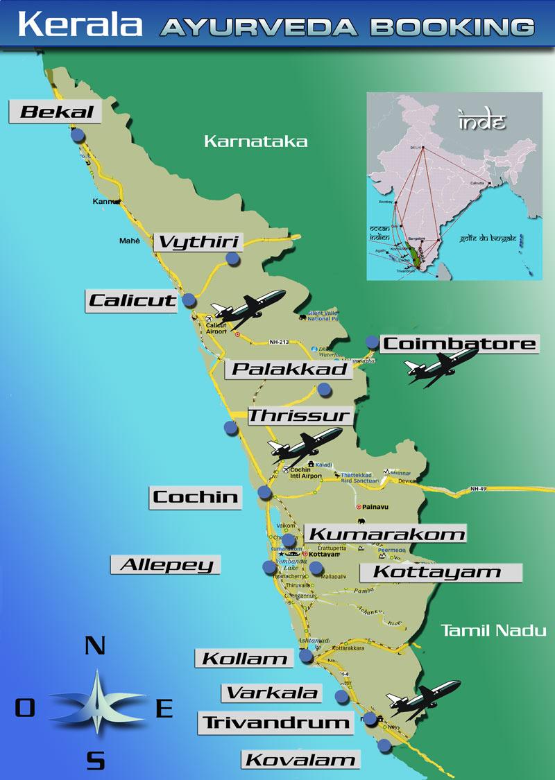 Carte Inde Kochi.Ayurveda Voyages Kerala